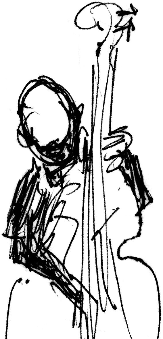 Pen sketch of Paul Del Nero playing bass